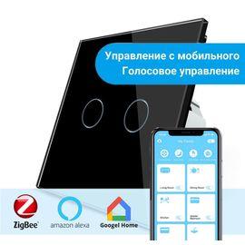 Сенсорный выключатель Livolo 2-канальный, ZigBee, Цвет: Черный , Протокол управления: ZigBee