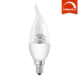 Светодиодная LED лампа OSRAM SUPERSTAR CL BA40 5.7W 470lm E14 теплый белый, диммируемая, прозрачная