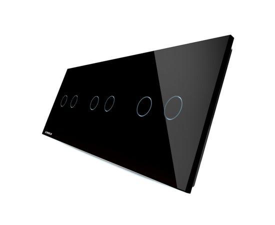 Стекло накладка для механизмов Livolo (2 + 2 + 2 канала), Цвет: Черный
