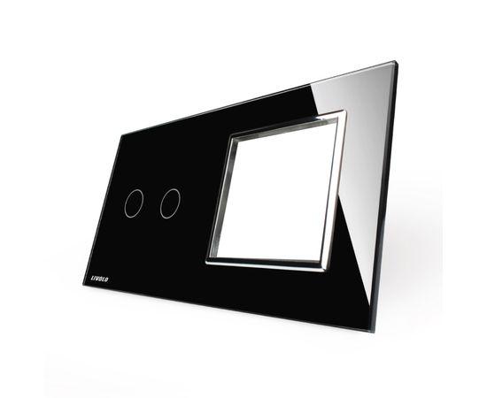 Стекло накладка для механизмов Livolo (2 канала + розетка), Цвет: Черный