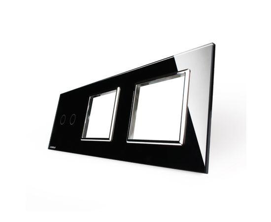Стекло накладка для механизмов Livolo (2 канала + розетка + розетка), Цвет: Черный