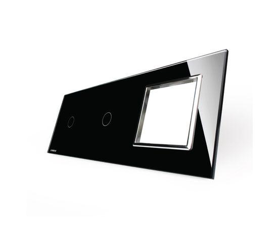 Стекло накладка для механизмов Livolo (1 канал + 1 канал + розетка), Цвет: Черный