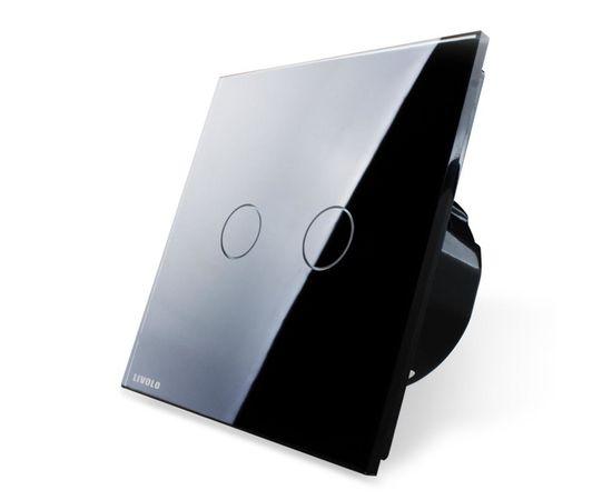 Сенсорный импульсный выключатель для штор/жалюзи Livolo, Classic, Количество каналов: 2, Питание: 220В, Встроенный радио модуль: Нет, Тип выключателя Livolo: Для штор/жалюзи, Цвет: Черный
