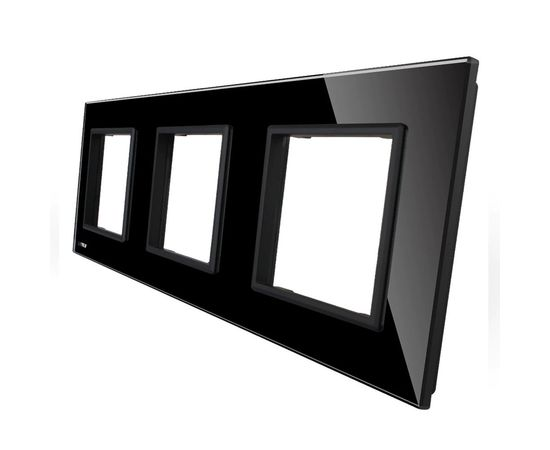 Рамка Livolo тройная, Цвет: Черный