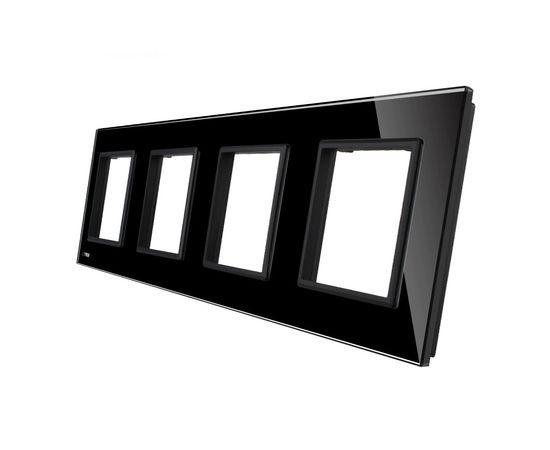 Рамка Livolo четырехместная, Цвет: Черный