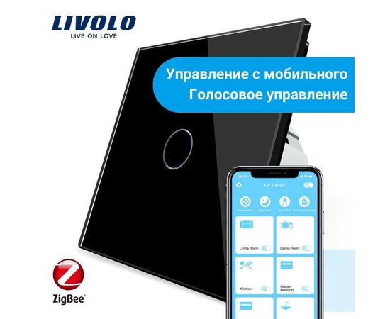 Сенсорный выключатель Livolo 1-канальный, ZigBee, Цвет: Черный , Протокол управления: ZigBee