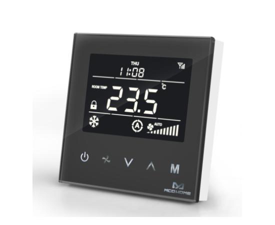 Термостат для фанкойла Z-Wave настенный (4 трубы) MCO Home, черный  — MCOEMH8-FC4B