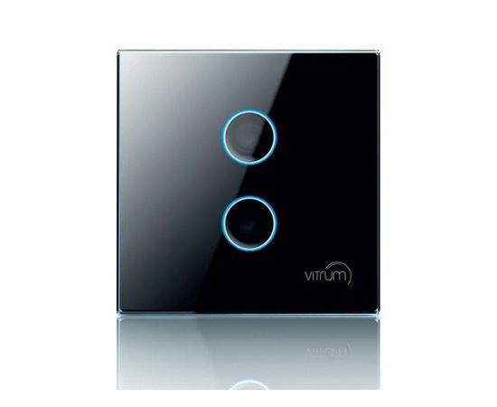 Сенсорный выключатель Vitrum 2-канальный, Z-Wave, британский стандарт, Количество каналов: 2, Стандарт выключателя: Британский, Тип механизма выключателя: Выключатель (реле)