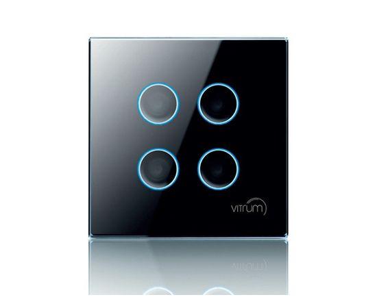 Сенсорный настенный контроллер Vitrum 4-канальный, Z-Wave, британский стандарт, Количество каналов: 4, Стандарт выключателя: Британский, Тип механизма выключателя: Контроллер дистанционного управления