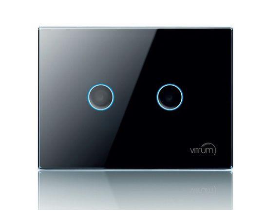 Сенсорный выключатель Vitrum 2-канальный, KNX, европейский стандарт, Количество каналов: 2, Стандарт выключателя: Европейский, Тип механизма выключателя: Выключатель (реле)