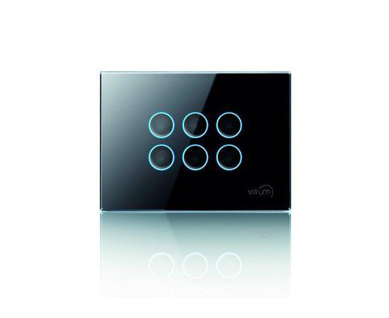 Сенсорный универсальный выключатель Vitrum 6-канальный, Z-Wave, европейский стандарт, Количество каналов: 6, Стандарт выключателя: Европейский, Тип механизма выключателя: Выключатель (симистор)